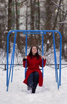 Free Girl On Swing In Winter Stock Photography - 17546812