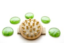 Massage Brush With Glass Stones Royalty Free Stock Photography