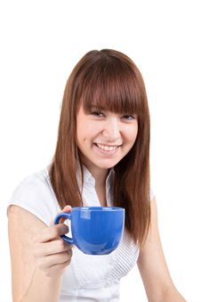 Free The Girl With A Dark Blue Cup Stock Photos - 17547313