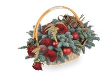 Free Christmas Basket With Flowers Royalty Free Stock Photo - 17548715