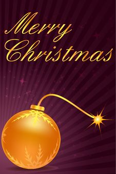 Free Merry Christmas Card With Ball Stock Images - 17548844