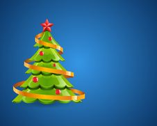 Free Christmas Glossy Tree With Red Star Royalty Free Stock Photo - 17549155