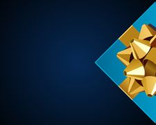 Free Blue Gift With Gold Bow Top View Stock Photography - 17549282