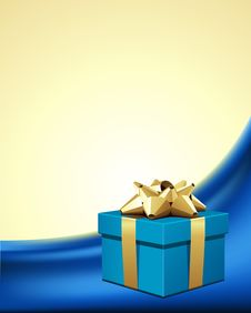 Blue Gift With Gold Bow On Silk Stock Image