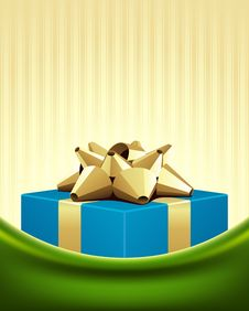 Free Blue Gift With Gold Bow Royalty Free Stock Image - 17549336