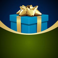 Blue Gift With Gold Bow Royalty Free Stock Image