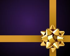 Greeting Violet Card With Gold Bow Royalty Free Stock Photography