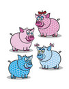 Free Pink And Blue Piggy Royalty Free Stock Images - 17556259