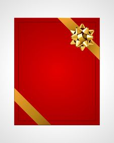 Free Greeting Red Card With Gold Bow Royalty Free Stock Photos - 17550768