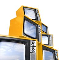 Free Heap Of Retro TV With Reflected Sky Royalty Free Stock Image - 17551276