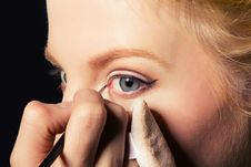 Free Charming Young Woman Applying Blusher Eyelid Stock Photography - 17551832