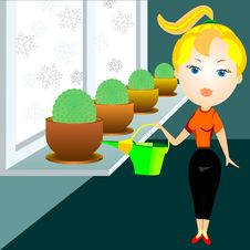 Vector Blonde Woman Watering Cactuses Royalty Free Stock Photo