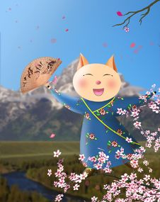 Free Happy Cute Pig Dancing On Branches Of Sakura. Stock Photography - 17552212