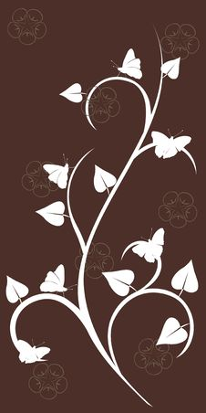 Free Floral Decor With Batterfly, Silhouette Royalty Free Stock Photo - 17552645
