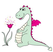 Free Cute Dragon With Flower Stock Image - 17552761