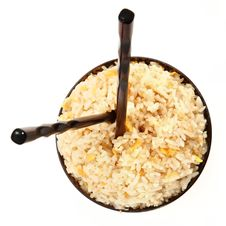 Free Rice Bowl With Vertical Chopsticks Royalty Free Stock Image - 17553536