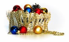 Free A Basket With Christmas-tree Decorations Royalty Free Stock Photos - 17553728