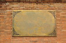 Free Frame Brass On Brickwall Royalty Free Stock Photos - 17554378