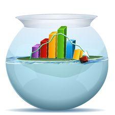 Business Graph Crashing In Water Tank Stock Photos