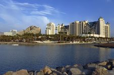 Free View On The Beach And Resort Hotels In Eilat City Stock Image - 17555361