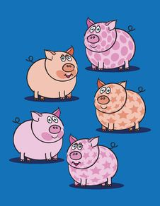 Free Pink Piggy Against Blue Stock Image - 17556261