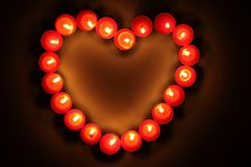 Candles Inlaid Heart Royalty Free Stock Photo