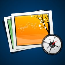 Compass With Pictures Royalty Free Stock Image