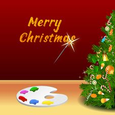 Merry Christmas Card With Color Plate Royalty Free Stock Photography