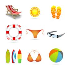 Free Beach Icons Royalty Free Stock Images - 17557659