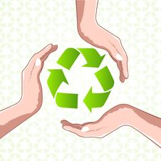 Free Recycle Icon With Hands Royalty Free Stock Image - 17557706