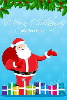 Free Merry Christmas Card With Santa Royalty Free Stock Photo - 17557765