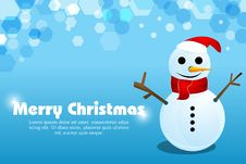 Free Merry Christmas Card With Snowman Royalty Free Stock Image - 17557766