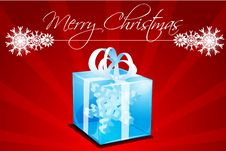 Merry Christmas Card With Gift Royalty Free Stock Photography