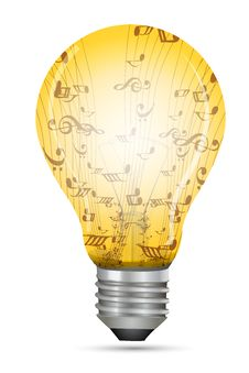 Free Electric Bulb With Music Texts Stock Photography - 17558002