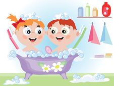 Free Children In Bathroom Stock Photo - 17558140