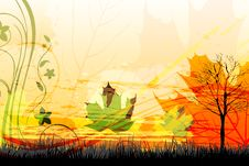 Free Abstract Autumn Card Royalty Free Stock Images - 17558479