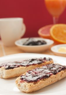 Free Breakfast With Butter And Jam Royalty Free Stock Images - 17559579