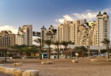 View On The Beach And Resort Hotels In Eilat City Royalty Free Stock Photo
