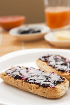 Free Breakfast With Butter And Jam Royalty Free Stock Photography - 17559947