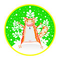 Free Red Cat On A Round Card Stock Images - 17561994