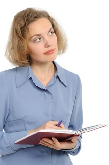 Woman With A Pencil And The Note Book Royalty Free Stock Images
