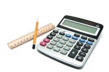 Pencil, Ruler, Calculator Royalty Free Stock Image