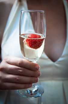 Free Bride With A Glass Of Champagne Stock Images - 17561174