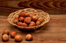 Free Wood Nuts In A Basket Royalty Free Stock Photography - 17561207