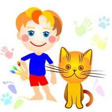 Free Vector Boy And A Cat Drawing Royalty Free Stock Photos - 17561558