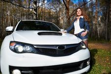 Free Beautiful Girl And Stylish White Sports Car Royalty Free Stock Photos - 17562938