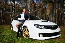 Free Beautiful Girl And Stylish White Sports Car Stock Photos - 17562943