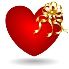 Free Heart With Golden Bow Stock Photo - 17563430