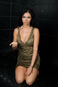 Sexy Wet Girl In Green Dress Royalty Free Stock Image