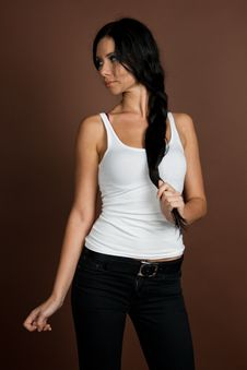 Free Sexy Girl In White T-shirt Royalty Free Stock Images - 17563939